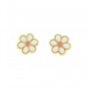 Σκουλαρίκια λουλούδι λευκό smalto