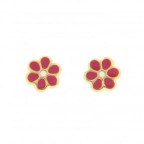 Σκουλαρίκια λουλούδι φουξ smalto