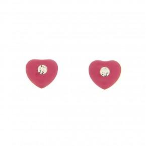 Σκουλαρίκια καρδιά με φουξ smalto και πέτρα