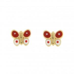 Σκουλαρίκι πεταλούδες κόκκινες και λευκές