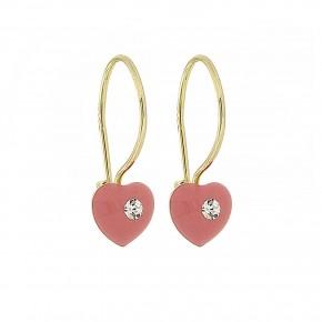 Σκουλαρίκια ροζ καρδιές κρεμαστές με smalto