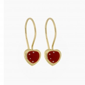 Σκουλαρίκια κόκκινες κρεμαστές καρδιές με smalto