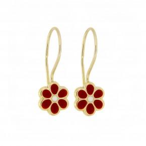 Σκουλαρίκια κρεμαστά λουλούδι κόκκινο smalto