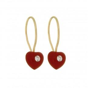 Σκουλαρίκια κόκκινες καρδιές κρεμαστές με smalto