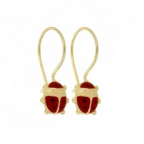Σκουλαρίκια κρεμαστά πασχαλίτσες κόκκινες