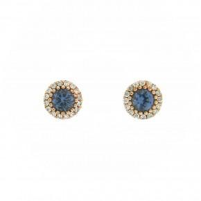 Σκουλαρίκια ροζέτες blue topaz Roségold