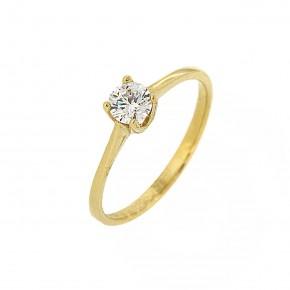 Μονόπετρο δαχτυλίδι minimal χρυσό 14 καρατίων με γυαλιστερή βάση.