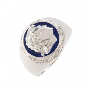 Δαχτυλίδι λευκόχρυσο Μέγας Αλέξανδρος με σμάλτο
