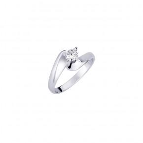 Δαχτυλίδι μονόπετρο φλόγα με διαμάντι