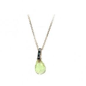 Κρεμαστό μονόπετρο με ανοιχτό πράσινο quartz