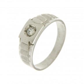 Ανδρικό δαχτυλίδι με πέτρα ζιργκόν από λευκόχρυσο 14 καρατίων