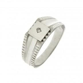 Ανδρικό δαχτυλίδι λευκόχρυσο 14 καρατίων με πέτρα ζιργκόν