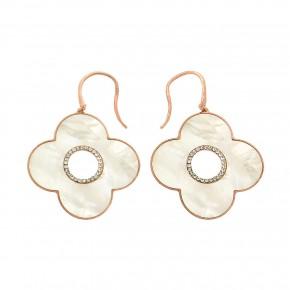 Σκουλαρίκια rosegold flowers mother of pearl