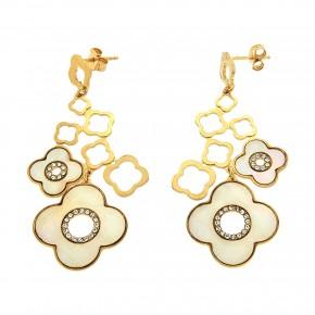 Σκουλαρίκια gold flowers mother of pearl