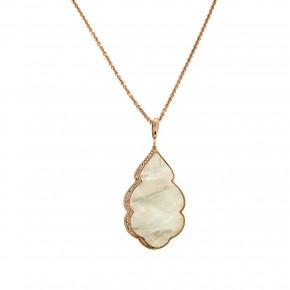 Κολιέ φύλλο επιχρυσωμένο mother of pearl