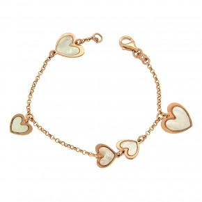 Βραχιόλι hearts ροζ επίχρυσο mother of pearl
