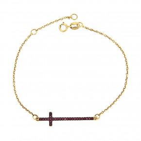 Βραχιόλι glamorous με σταυρό και κόκκινες πέτρες
