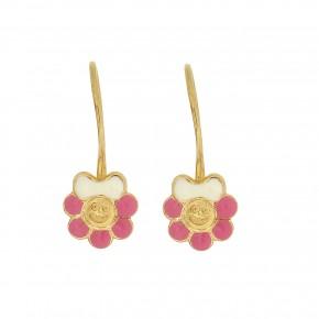 Σκουλαρίκια κρεμαστά ροζ λουλούδι
