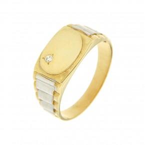 Ανδρικό δαχτυλίδι δίχρωμο με πέτρα σε χρυσό 14 καρατίων