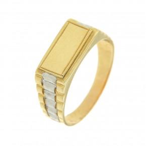 Ανδρικό δαχτυλίδι δίχρωμο σε χρυσό 14 καρατίων