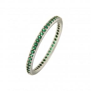 Δαχτυλίδι ολόβερο από λευκόχρυσο με πράσινες πέτρες