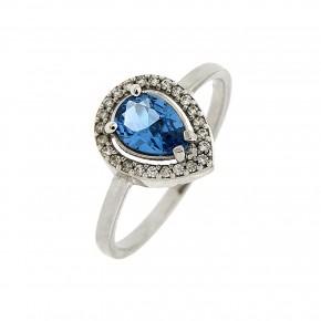 Δαχτυλίδι ροζέτα μπλε δάκρυ 14 καρατίων
