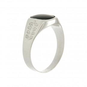 Ανδρικό δαχτυλίδι λευκόχρυσο 14 καρατίων σκαλιστό με όνυχα