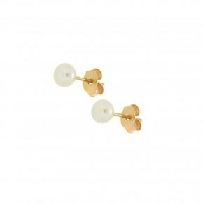 Σκουλαρίκια καρφωτά, με φυσικό μαργαριτάρι, fresh water, 4 - 4,50mm
