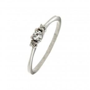 Τρίπετρο δαχτυλίδι minimal από λευκόχρυσο 14 καρατίων