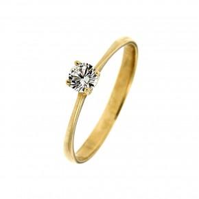 Μονόπετρο δαχτυλίδι minimal κλασικό από χρυσό 14 καρατίων με γυαλιστερή βάση