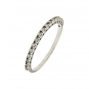 Δαχτυλίδι σειρέ από λευκόχρυσο 14 καρατίων με δεκαεπτά πέτρες