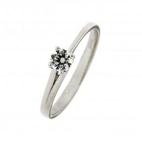 Μονόπετρο δαχτυλίδι από λευκόχρυσο 14 καρατίων (κ585)