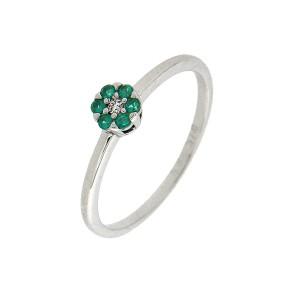 Δαχτυλίδι λευκόχρυση πράσινη ροζέτα Piccolo