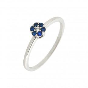 Δαχτυλίδι λευκόχρυση μπλε ροζέτα Piccolo