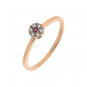 Δαχτυλίδι ροζέτα Piccolo με κόκκινη πέτρα