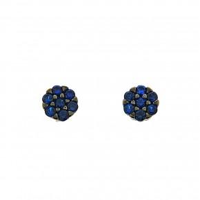 Piccolo σκουλαρίκια ροζέτες μπλε