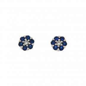 Piccolo σκουλαρίκια ροζέτες μπλε και άσπρες