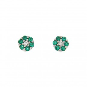 Piccolo σκουλαρίκια ροζέτες λευκό και πράσινο