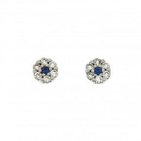 Piccolo σκουλαρίκια ροζέτες άσπρο και μπλε