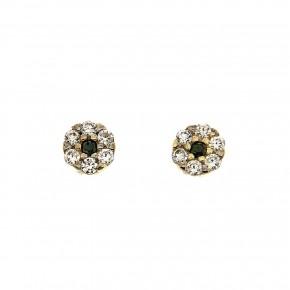 Piccolo χρυσά σκουλαρίκια ροζέτες ασπρόμαυρες