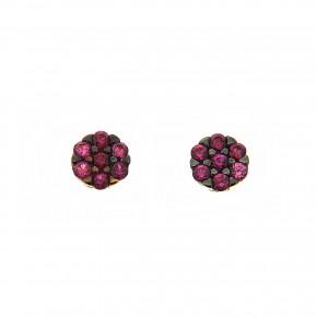 Piccolo σκουλαρίκια ροζέτες κόκκινες