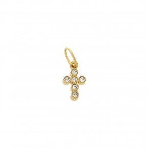 Σταυρός στρογγυλεμένος με πέτρες Small σε χρυσό