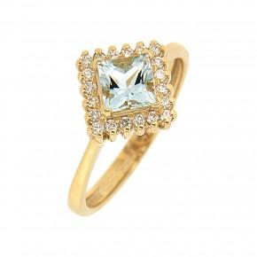 Δαχτυλίδι aquamarine gold ροζέτα ρόμβος
