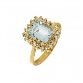 Δαχτυλίδι aquamarine gold ροζέτα