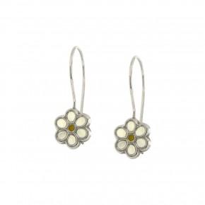 Σκουλαρίκια λευκόχρυσα κρεμαστά, λουλούδι λευκό smalto