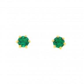 Σκουλαρίκια μονόπετρα πράσινα