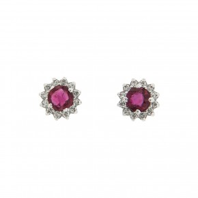 Σκουλαρίκια ροζέτες στρογγυλές με ρουμπίνια