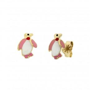 Σκουλαρίκια καρφωτά πιγκουίνοι με ροζ και λευκό σμάλτο