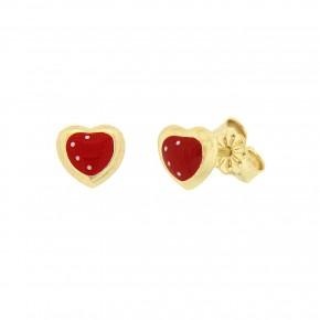 Σκουλαρίκια καρφωτά καρδιές με κόκκινο σμάλτο