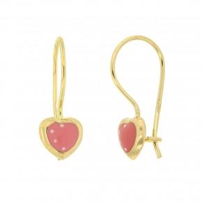Σκουλαρίκια κρεμαστά καρδιά ροζ smalto